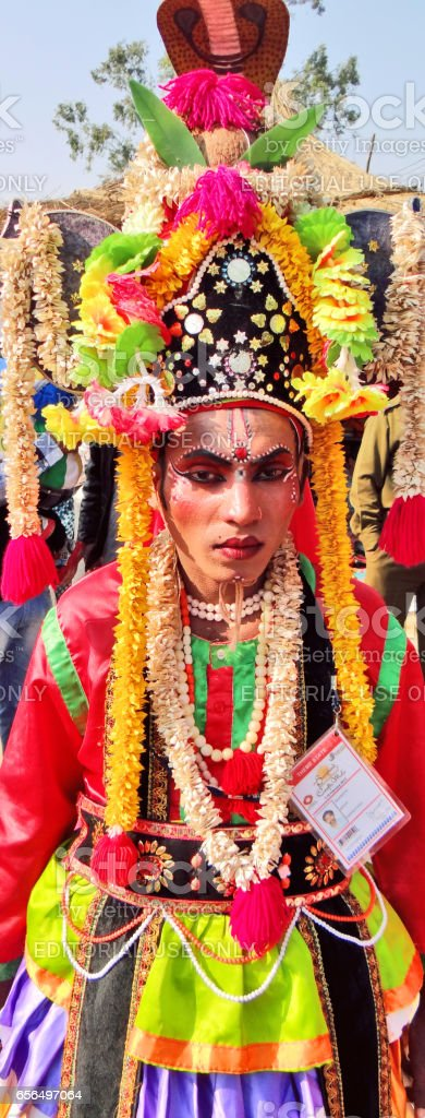 Portrait of a tribal stage artist stock photo