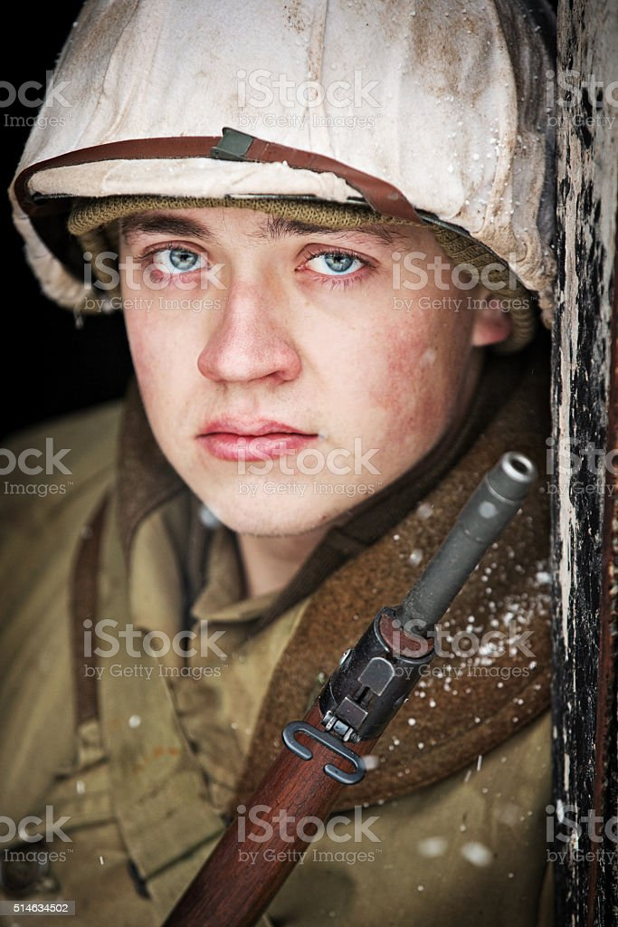 Portrait of A US World War II Soldier In Winter stock photo