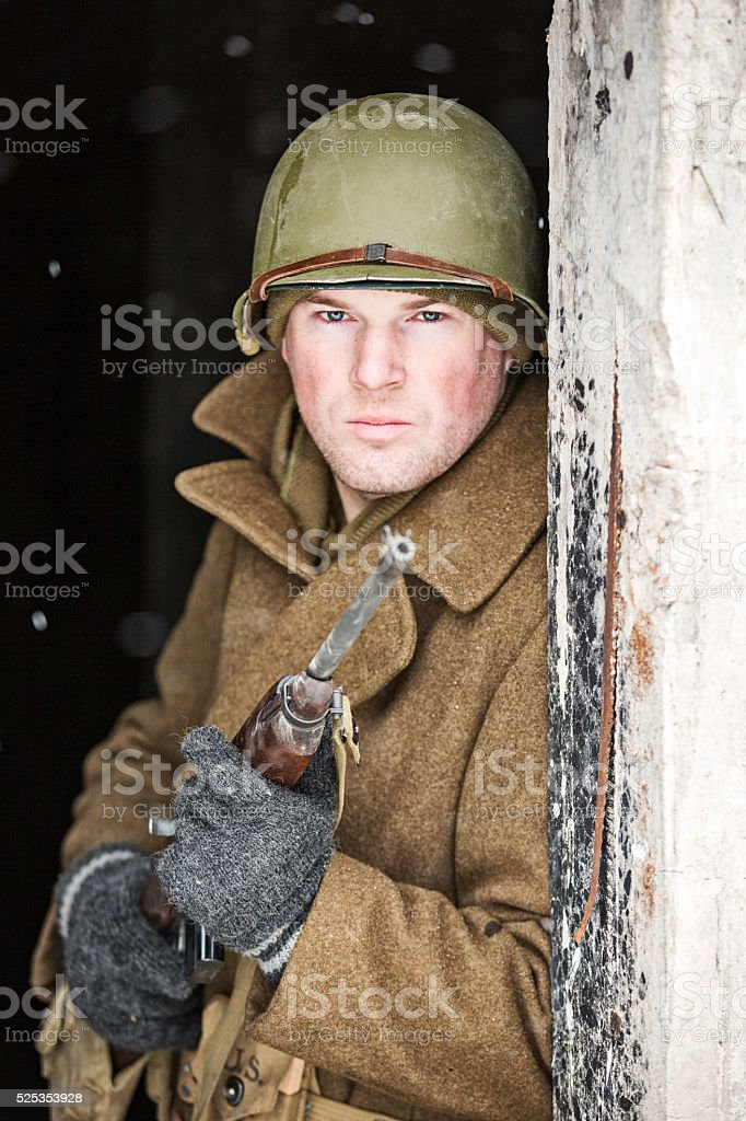 Portrait of a US WWII Soldier With Rifle stock photo
