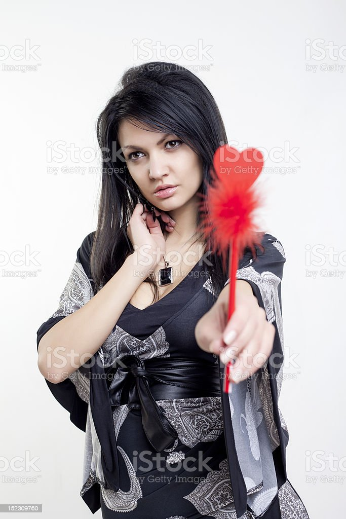 Portrait of a Valentine's girl with brown hair royalty-free stock photo