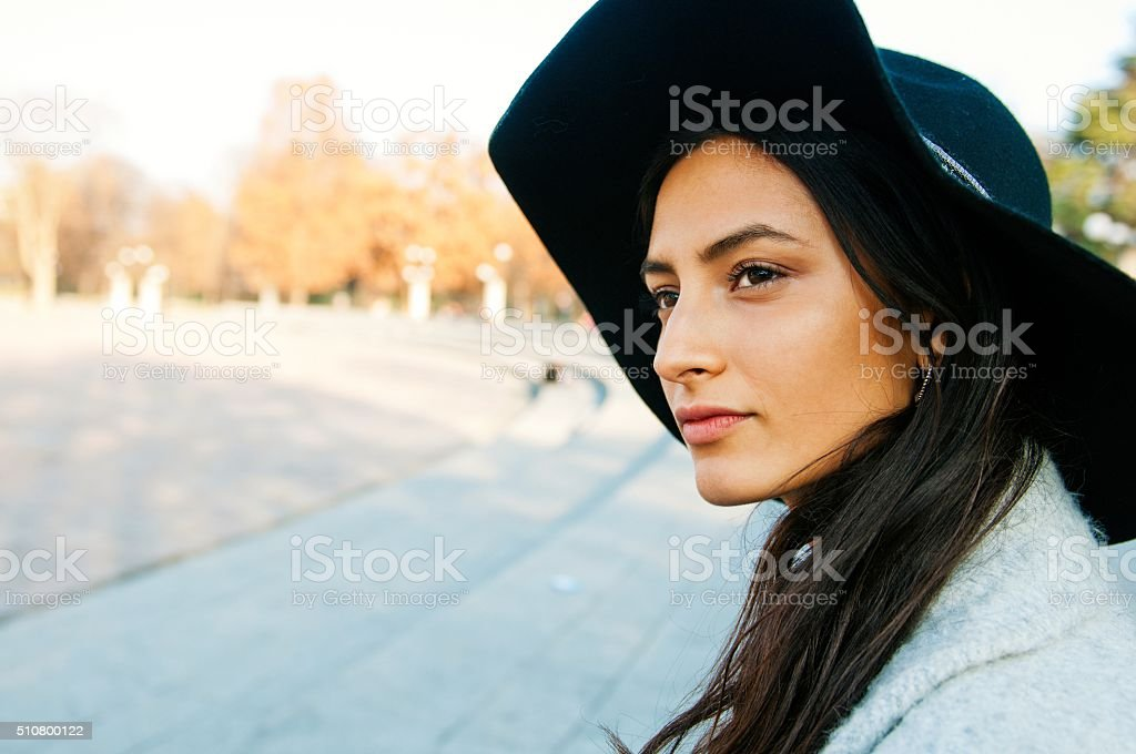 Portrait of a very attractive young elegant woman stock photo