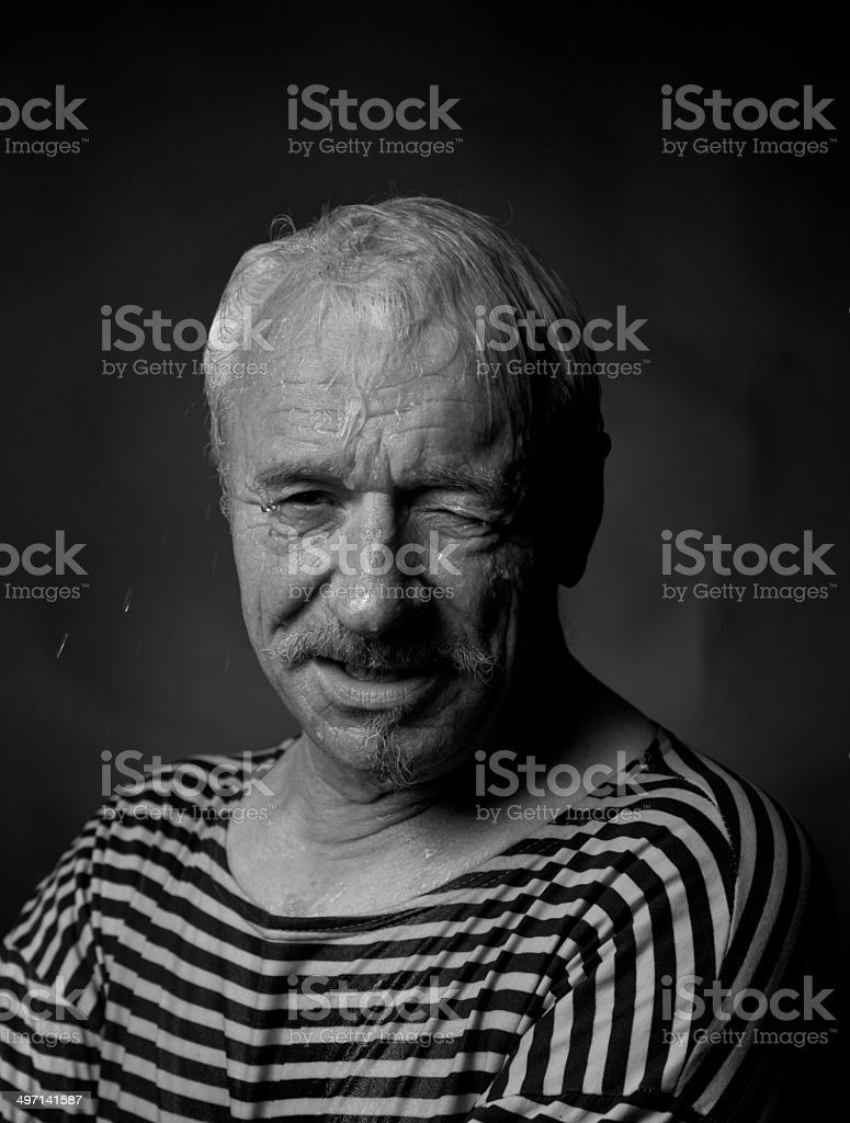 Portrait of a wet man royalty-free stock photo