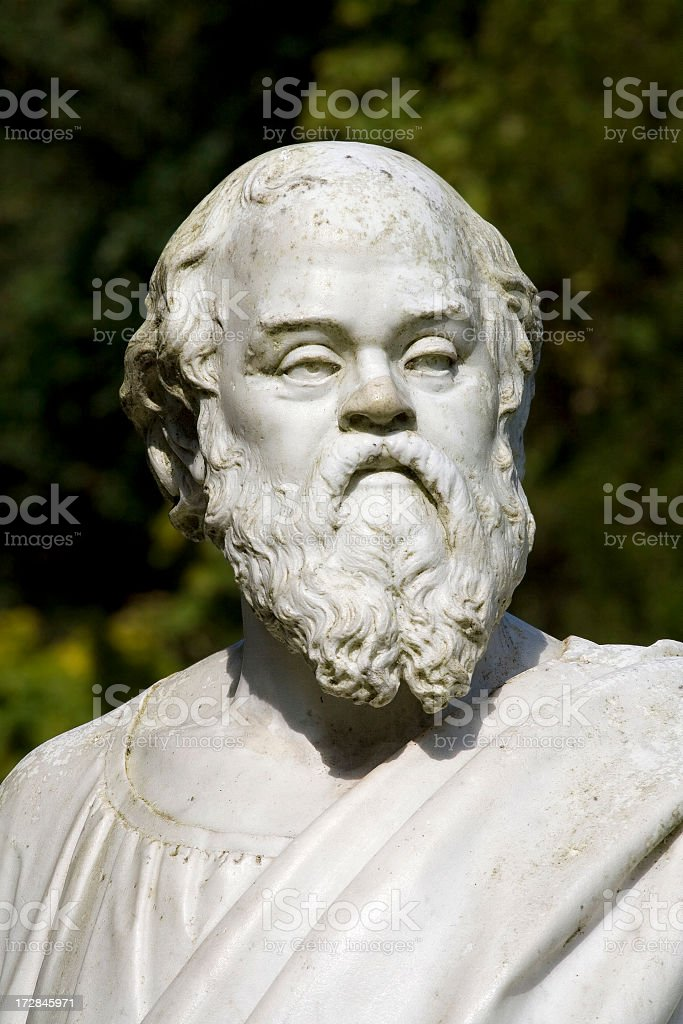 Portrait of a white marble bust of Socrates stock photo