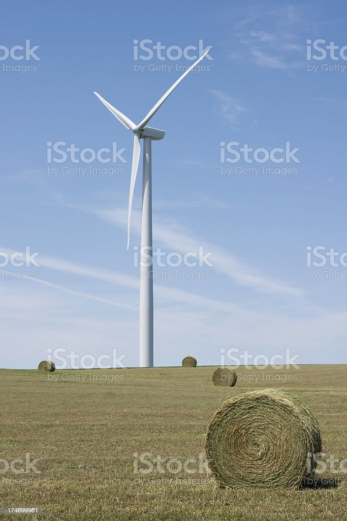 portrait of a wind turbine in a field royalty-free stock photo