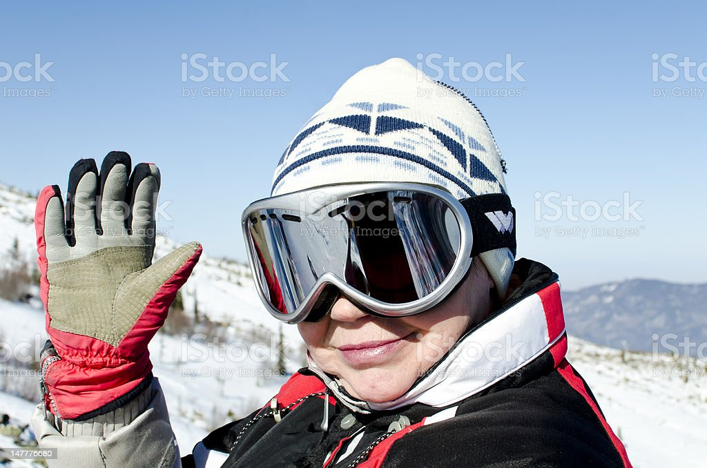 Portrait of a woman alpine skier royalty-free stock photo