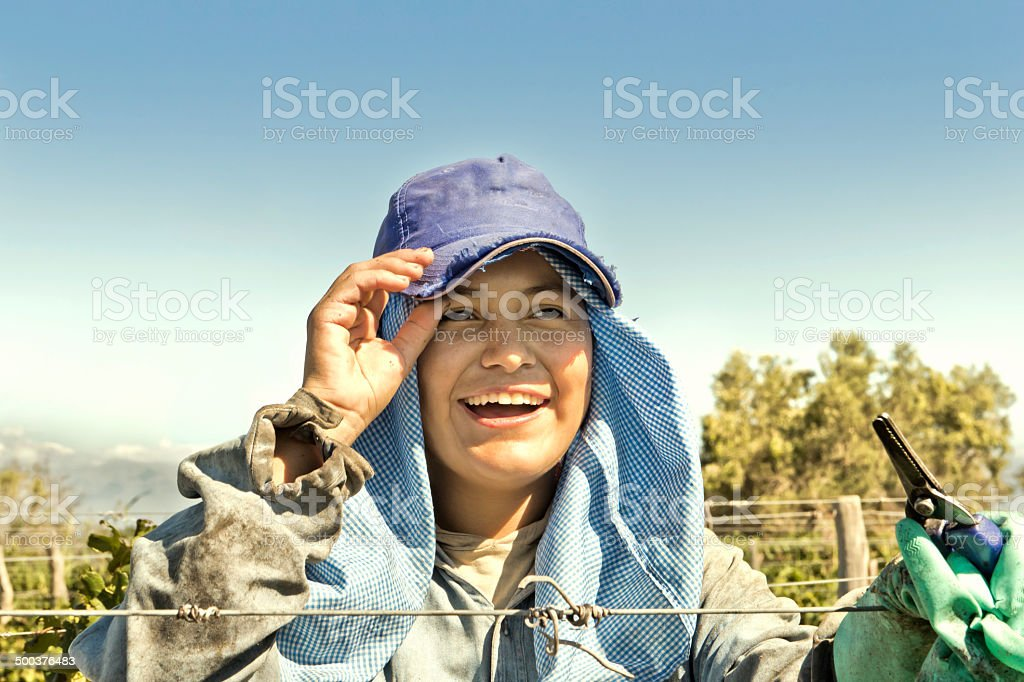 Portrait of a woman harvester royalty-free stock photo