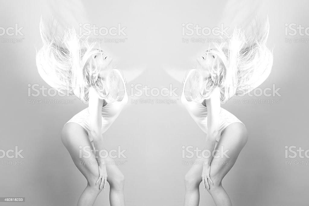Portrait of a woman in bodysuit stock photo