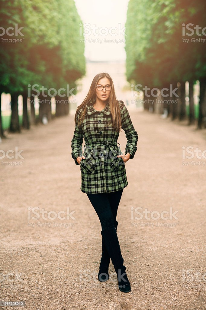 Portrait of a woman in Luxembourg Garden stock photo