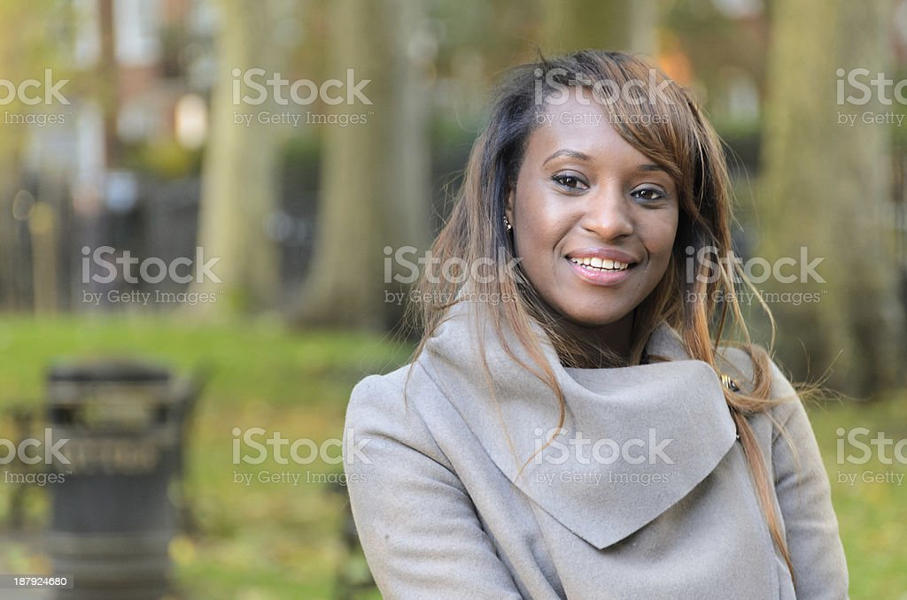 Portrait of a Woman in Park royalty-free stock photo