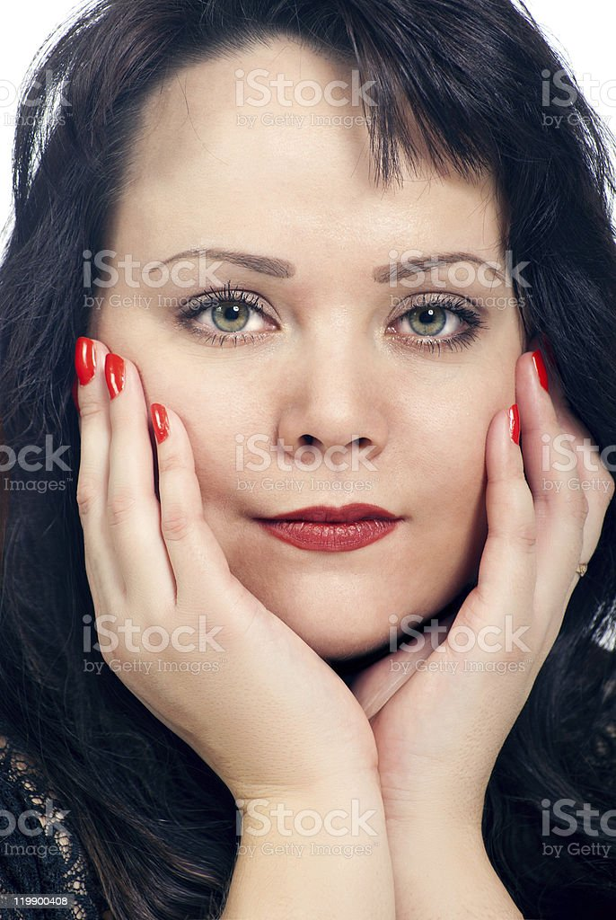Portrait of a woman in studio stock photo