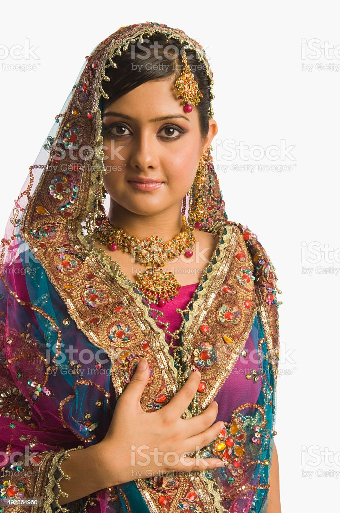 Portrait of a woman in traditional dress stock photo