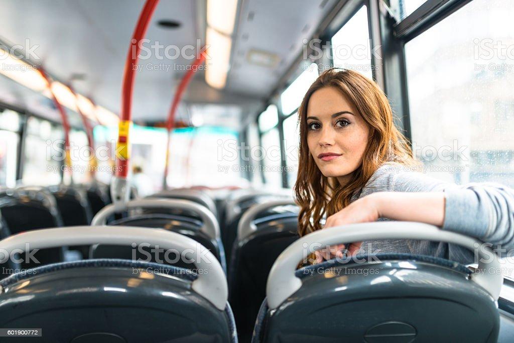 woman inside a bus in london
