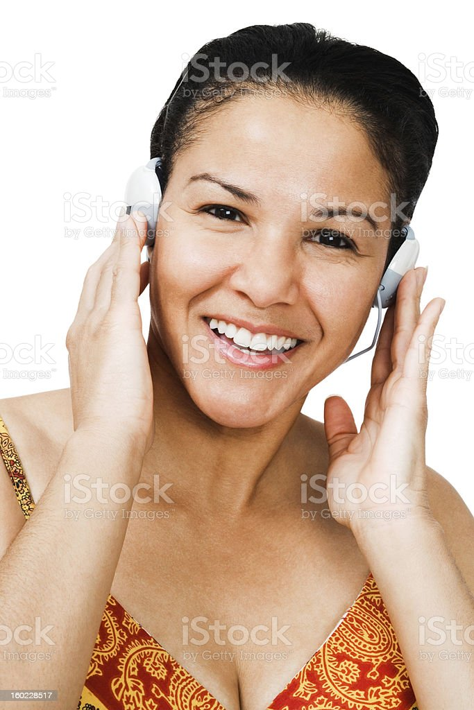 Portrait of a woman listening music royalty-free stock photo