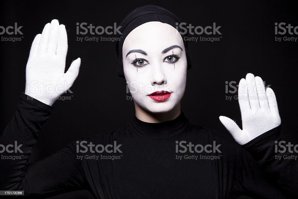Portrait of a woman mime stock photo
