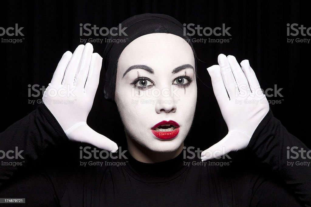 Portrait of a woman mime royalty-free stock photo
