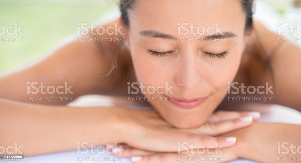 Portrait of a woman relaxing at the spa stock photo