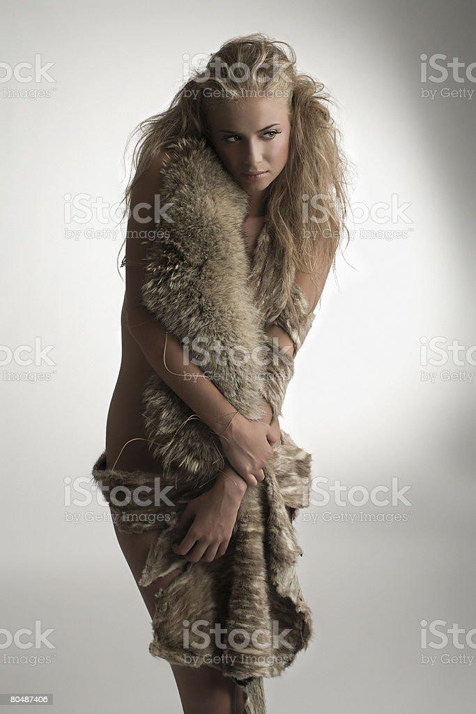 Portrait of a woman wearing fur stock photo
