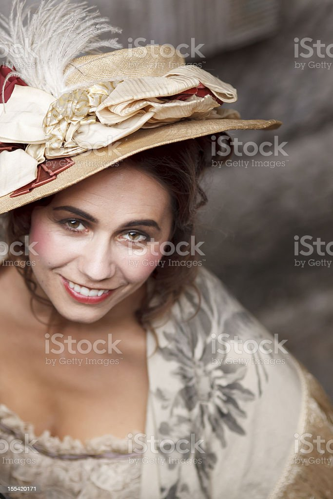 Portrait of a woman wearing victorian style clothes. royalty-free stock photo
