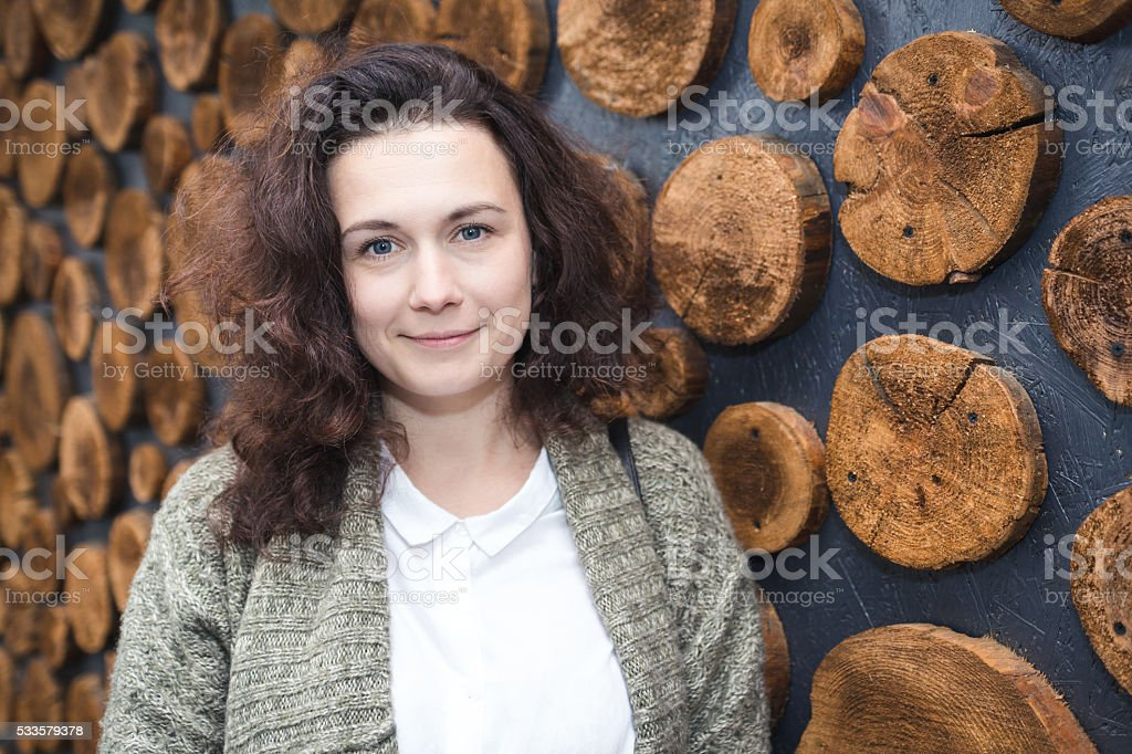 Portrait of a woman with curly hair. stock photo