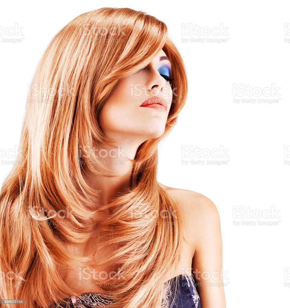 Portrait of a woman with long red hairs stock photo