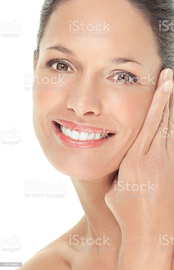 Portrait of a woman with radiant skin stock photo