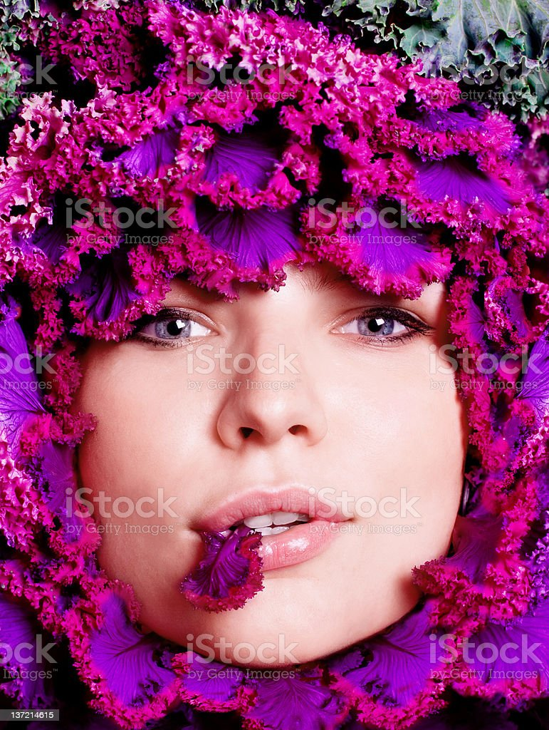 Portrait of a woman with salad stock photo