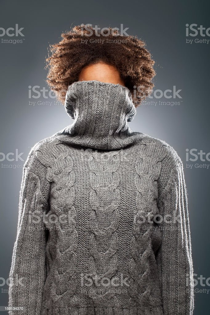 Portrait of a woman with sweater stock photo