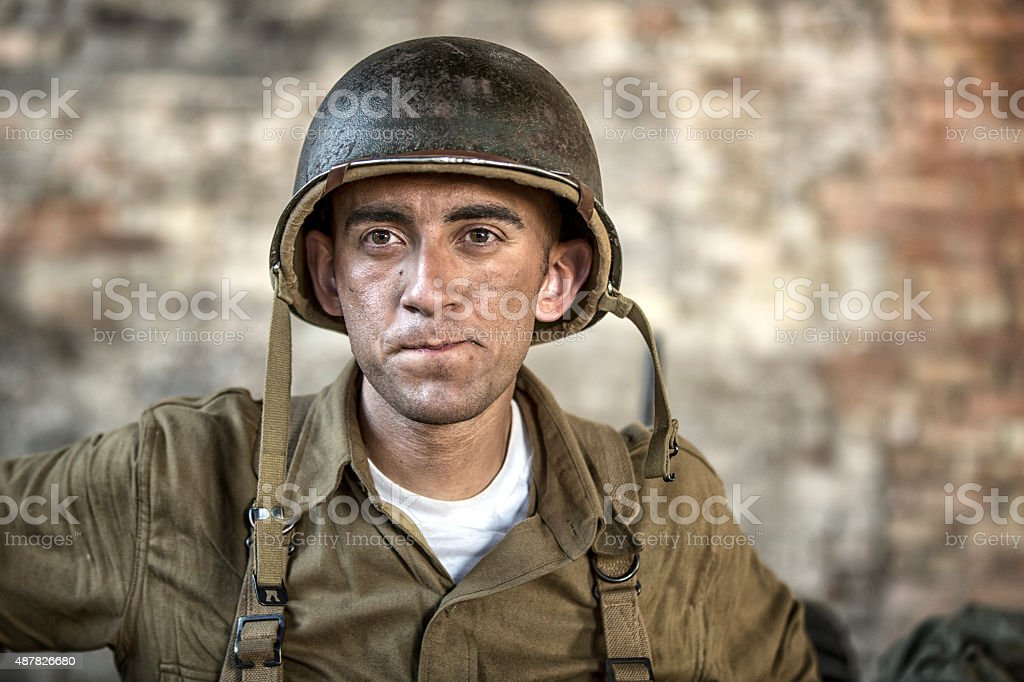 Portrait of a World War II Army Soldier stock photo
