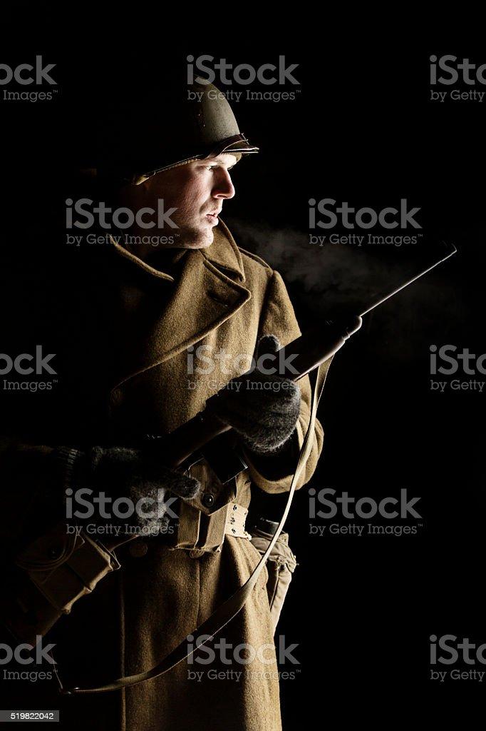 Portrait of a World War II Lieutenant stock photo