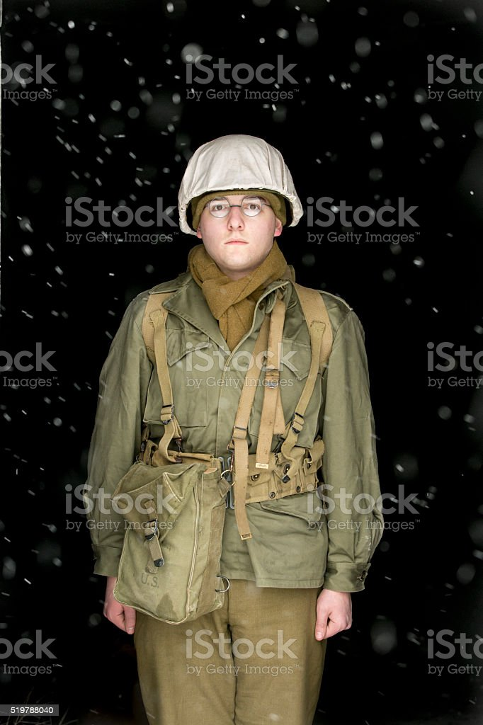 Portrait of a World War II Soldier during a Snowstorm stock photo