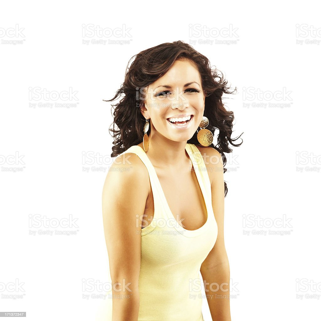 Portrait of a young adult female model smiling stock photo