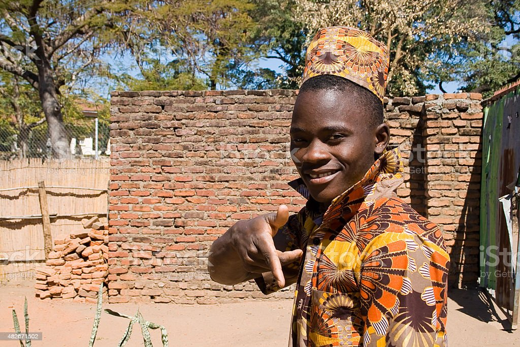 Portrait of a young African man. stock photo