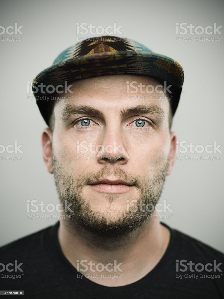 Portrait of a young american man looking at camera stock photo