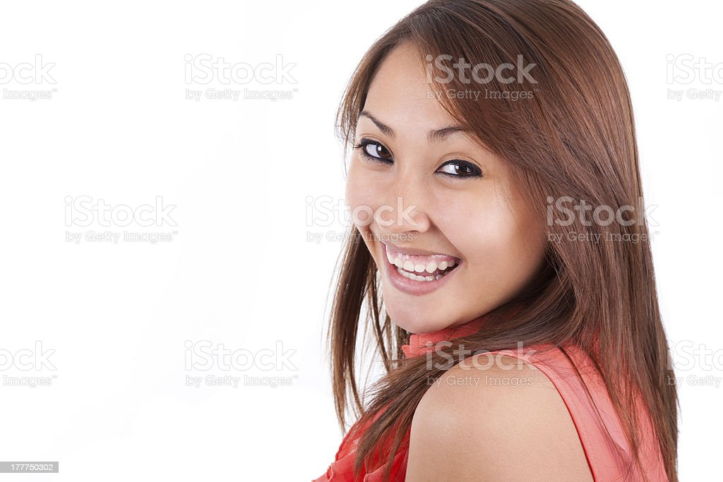 Portrait of a young beautiful asian woman looking up royalty-free stock photo