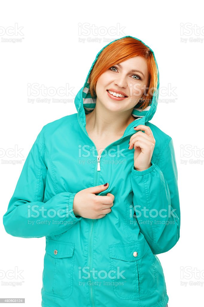 Portrait of a young beautiful girl in jacket with hood stock photo