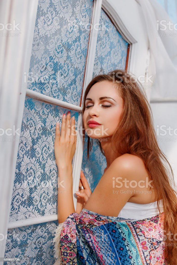 portrait of a young beautiful sexy woman stock photo