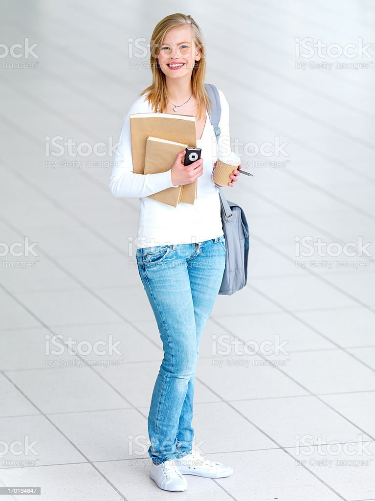 Portrait of a young beautiful student stock photo