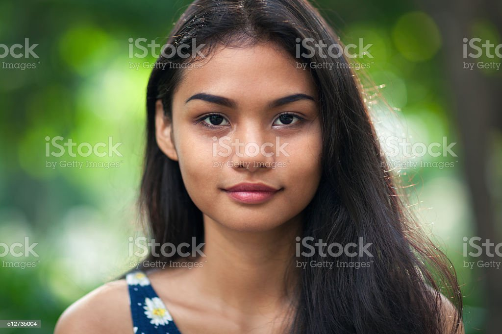 Portrait of a young beautiful woman stock photo