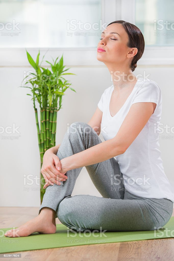 Portrait of a young beauty sitting and relaxing at home stock photo