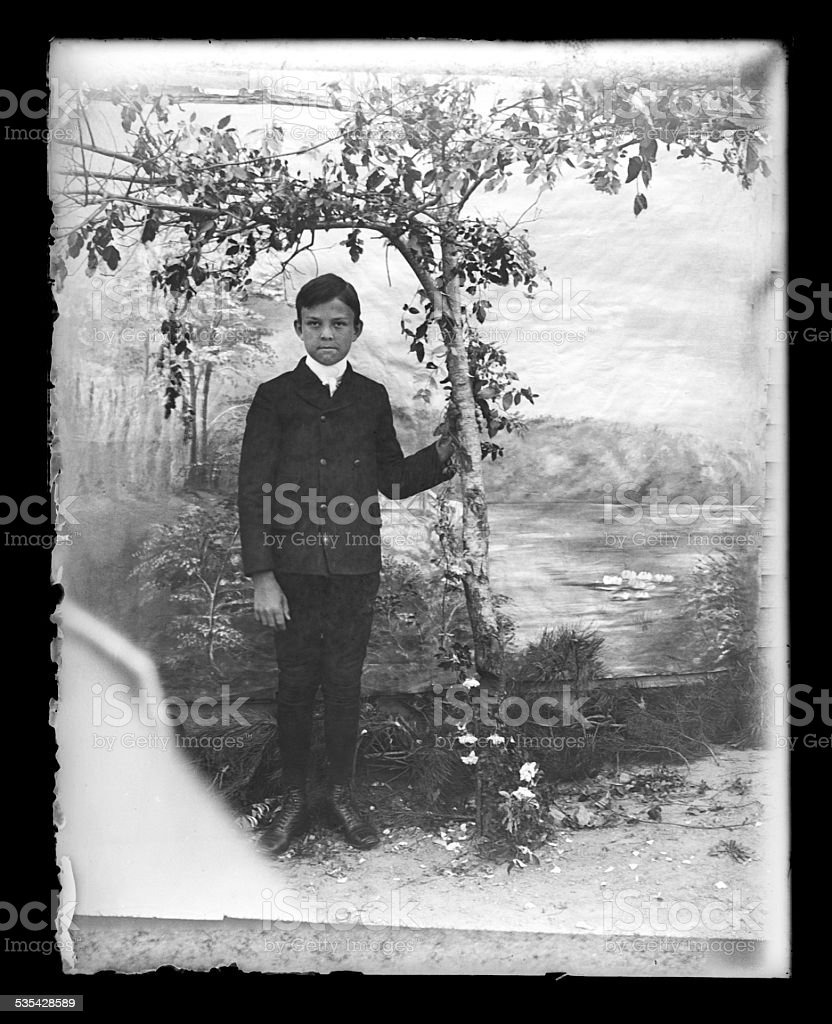 Portrait of a Young Boy, Circa 1890 stock photo