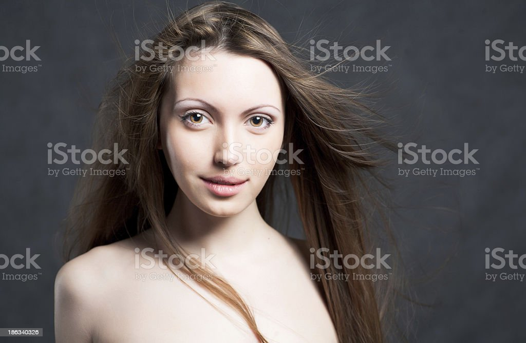Portrait of a young brunette lady royalty-free stock photo