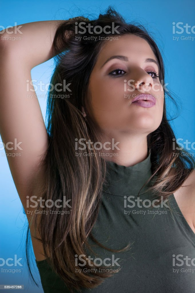 Portrait of a young brunette stock photo