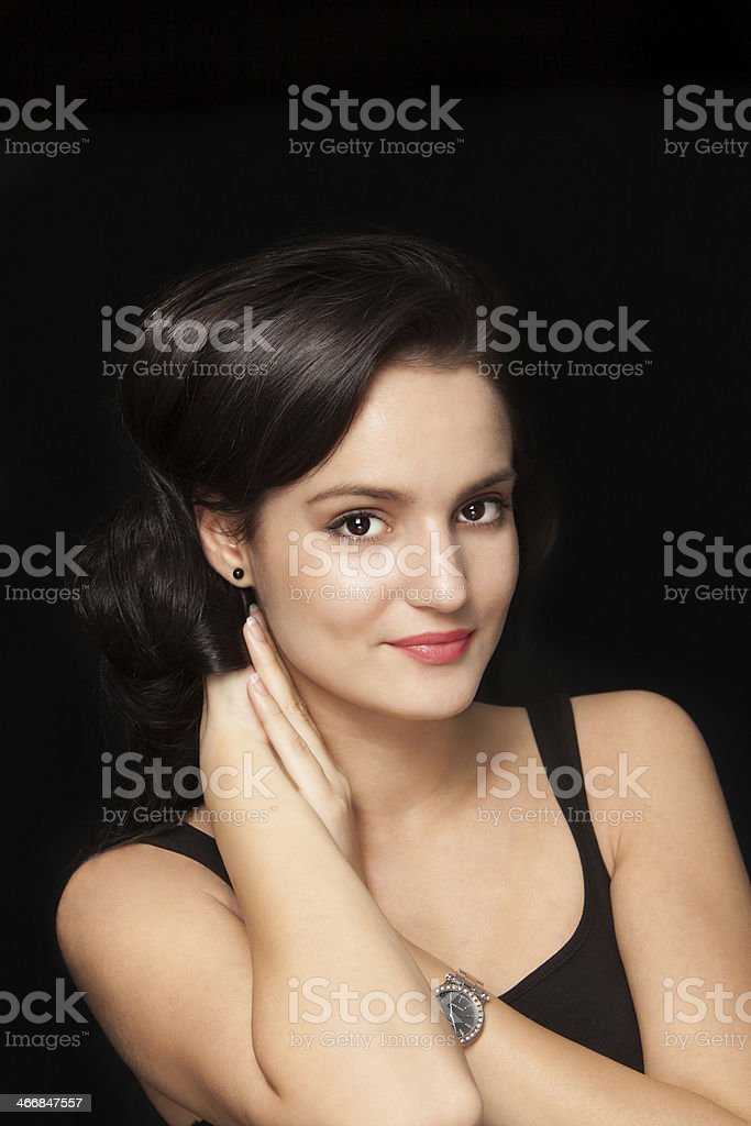 Portrait of a young brunette with soft skin royalty-free stock photo