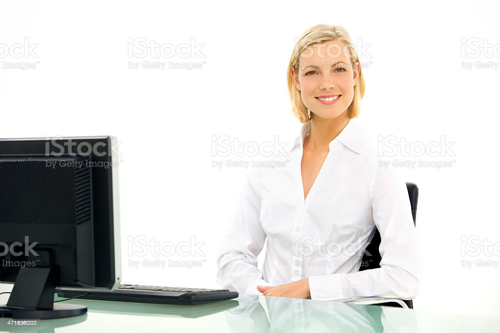Portrait of a young businessoman at workplace stock photo