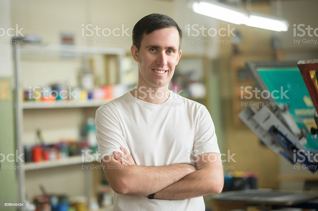 Portrait of a young confident worker stock photo