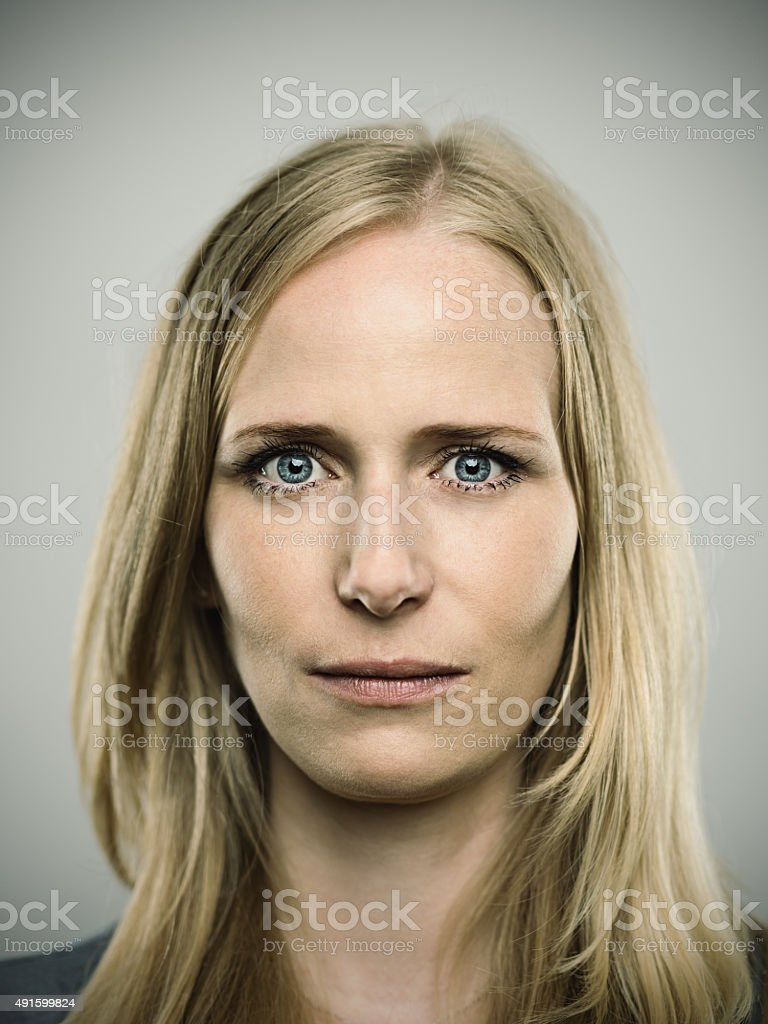 Portrait of a young german woman looking at camera stock photo