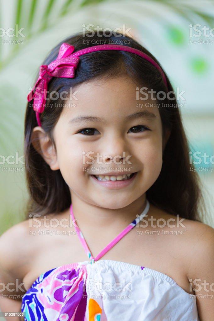 Portrait of a Young girl Hawaiian Polynesian Children stock photo