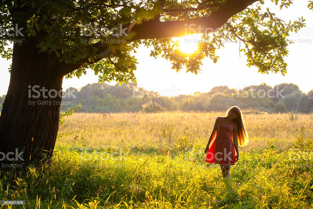 Portrait of a young girl on the nature stock photo