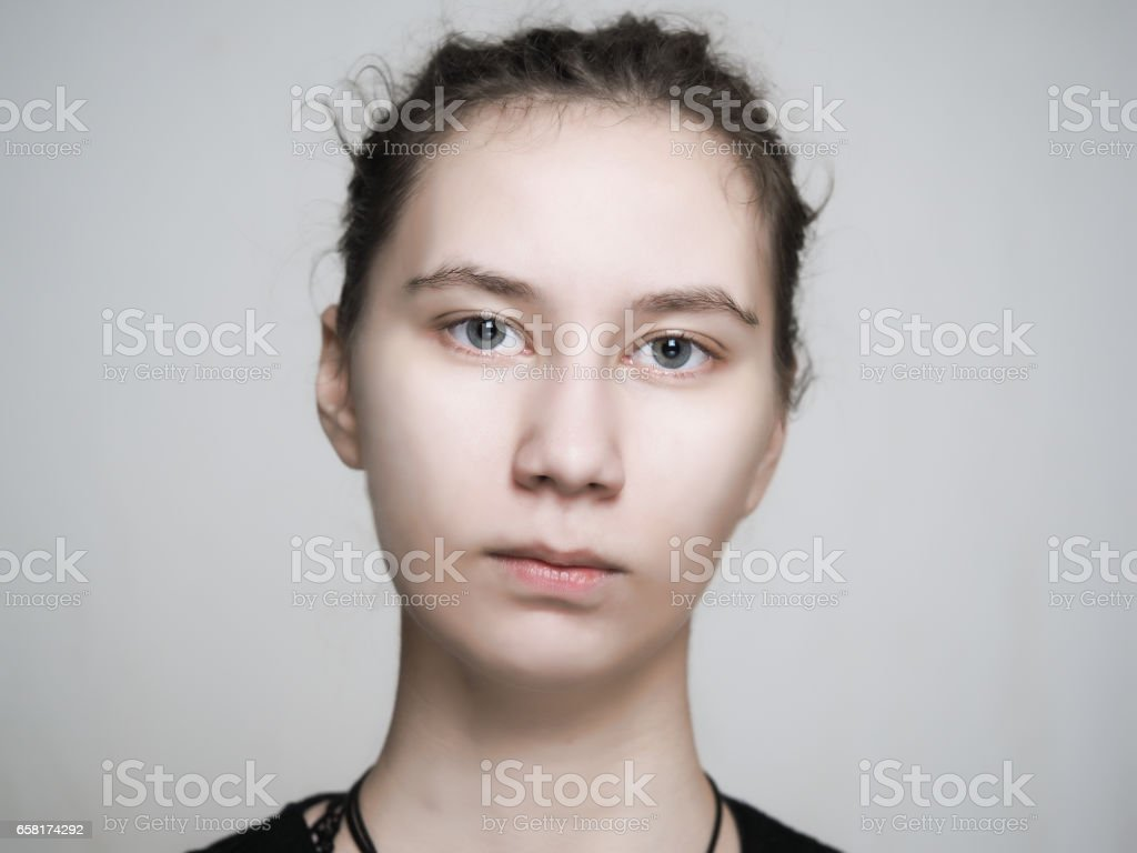 Portrait of a young girl with a delicate beautiful skin stock photo