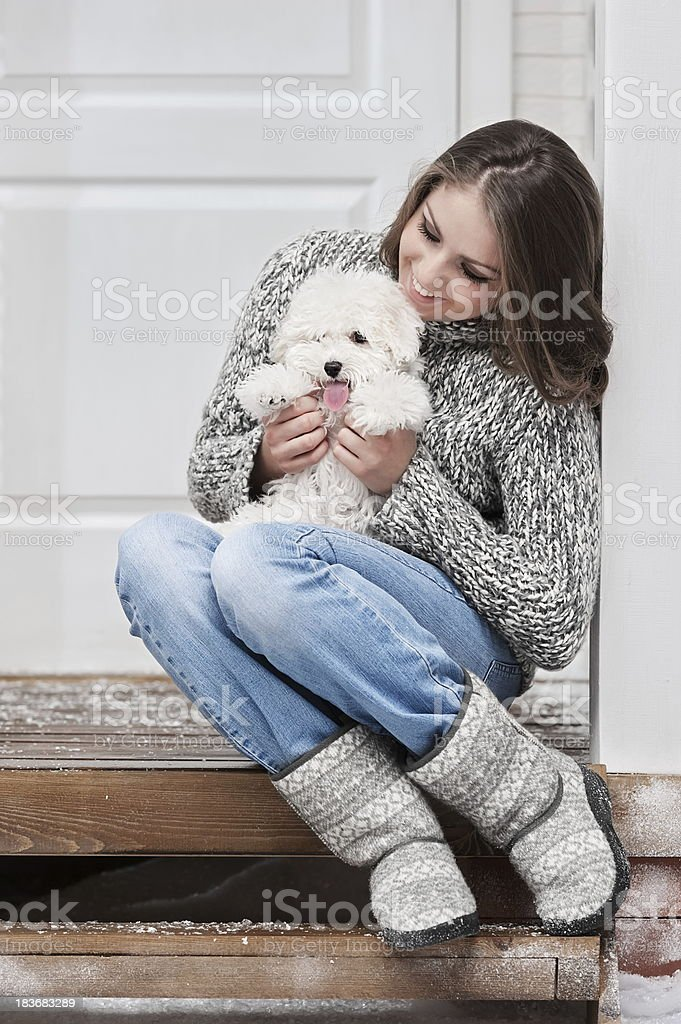 Portrait of a young girl with dog royalty-free stock photo